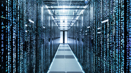Shot of Corridor in Working Data Center Full of Rack Servers and Supercomputers with High Danger Skull Icon Visualization.