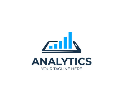 Analytics and smartphone logo template. Mobile analysis vector design. Phone and growth chart logotype