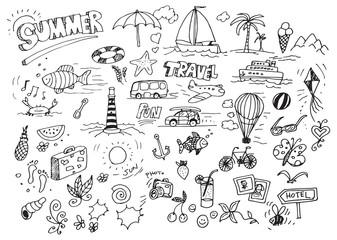 Hand drawn summer doodles