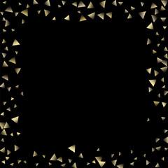 Golden falling confetti triangles
