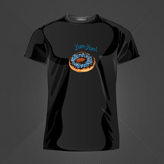 Original print for t-shirt. Black t-shirt with fashionable design - Yummy donut. Vector Illustration