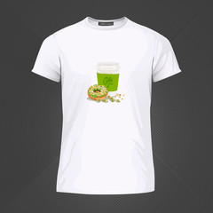 Original print for t-shirt. White t-shirt with fashionable design - Coffee and donut. Vector Illustration