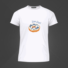 Original print for t-shirt. White t-shirt with fashionable design - Yummy donut. Vector Illustration