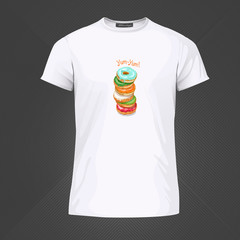 Original print for t-shirt. White t-shirt with fashionable design - Yummy donuts. Vector Illustration