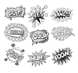 Set of Pop art style comic exclamations