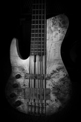 Bass Guitar In Music Studio. Musical Instruments and Equipment