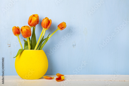 Tulips In A Yellow Vase Stock Photo And Royalty Free Images On