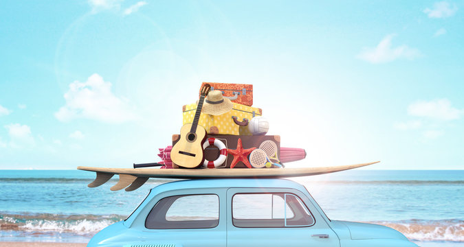 Car with luggage on the roof ready for summer vacation 3D Rendering