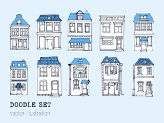 Hand drawn European city houses set in cute cartoon style. Colorful modern townhouse building sketch. Old houses, City buildings, decorative elements collection. Creative vector illustration.