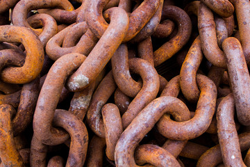 rusty chains pile