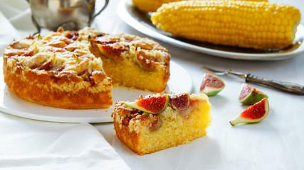corn flour pie with figs, streusel, gluten free, without wheat, white bakeground silver