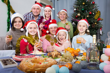 Portrait of smiling family is posing at New Year dinner