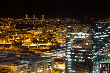 Aerial view of business district at night
