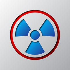 Paper art of radiation symbol. Vector illustration.
