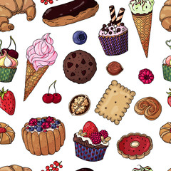 Multicolored vector bakery products. Color pattern of objects on the tasty theme.