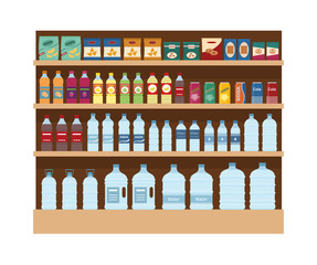 Shelves with lot of snacks and drinks. Large rack isolated on white background. Flat style vector illustration.