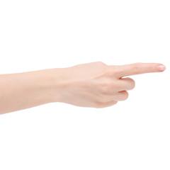 Female hand show finger left right
