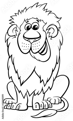 lion animal character cartoon coloring book\