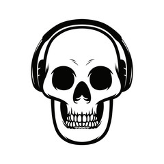 Monochrome vector illustration of skull with headphones