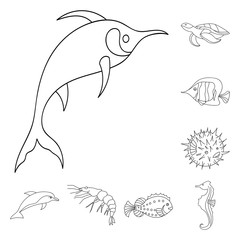 A variety of marine animals outline icons in set collection for design. Fish and shellfish vector symbol stock web illustration.