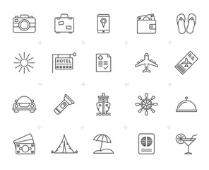 Line Travel, Tourism and trip icons - vector icon set