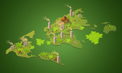 Isometric creative illustration of poisoned planet with garbage and toxic waste