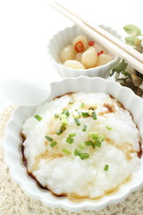 chinese food, rice porridge and soy sauce