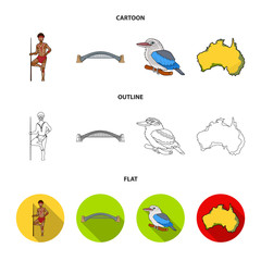 Aborigine with a spear, Sydney Harbor Bridge, kookabarra on a branch, the territory of the country.Australia set collection icons in cartoon,outline,flat style vector symbol stock illustration web.