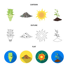 An ecological lamp, the sun, a garbage dump, a sprout from the earth.Bio and ecology set collection icons in cartoon,outline,flat style vector symbol stock illustration web.