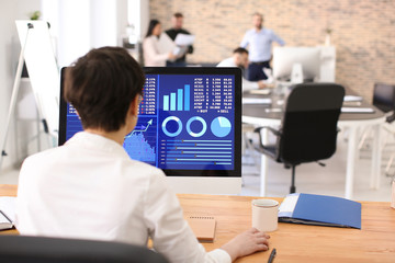 Woman working with stock data in office. Finance trading