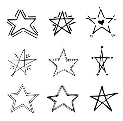 Stars doodle black vector geometric set. Cute hand drawn stars on white background. Vector illustration for print, textile, paper. Sketch hand drawn abstract grunge star set.Brush marker sketch