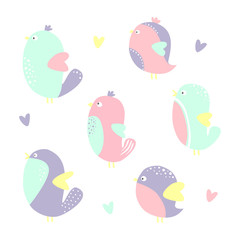 Set of cute little colorful birds isolated on white background. Vector illustration.
