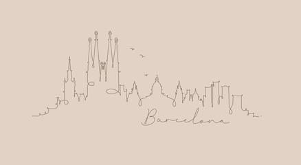 Pen line silhouette barcelona beige