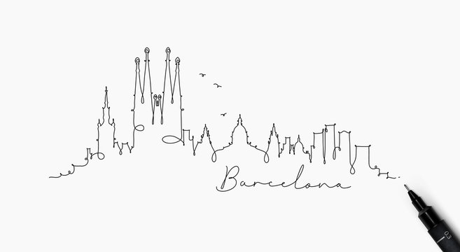 Pen line silhouette barcelona