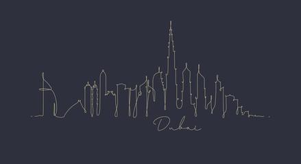 Pen line silhouette dubai dark blue