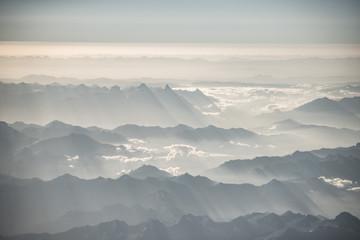 Himalayas mountains Everest range panorama aerial view