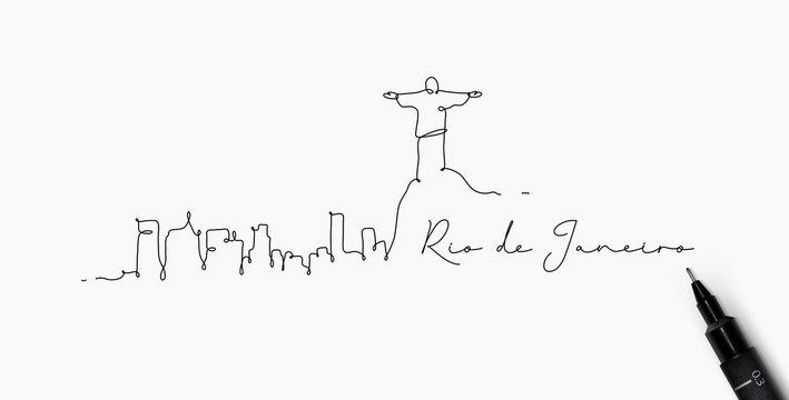 Pen line silhouette rio de janeiro