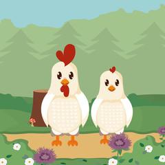Chicken and roast cute animals cartoons