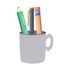 pencil holder with writing tools icon over white background, colorful design. vector illustration