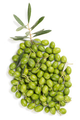 Wall Mural - Olives shaped olive, above view.