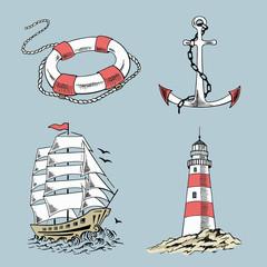 Anchor, boat, lifebuoy, lighthouse, ship, sailboat sketch set. Hand drawn