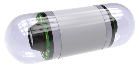 Pill-sized camera for capsule endoscopy