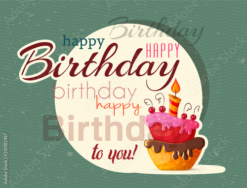 Birthday Cake Vector Card With Cake Stockfotos Und Lizenzfreie