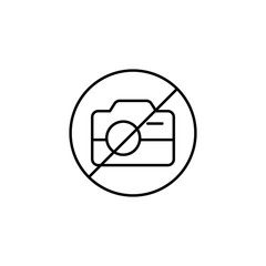 photo prohibition sign icon. Element of simple icon for websites, web design, mobile app, info graphics. Thin line icon for website design and development, app development