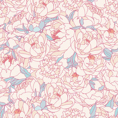 Seamless vector background with beautiful pattern of peonies. Romantic background in vintage style.