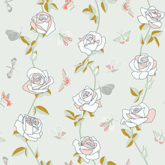 Seamless floral pattern with roses and butterflies, hand-drawing. Vector.