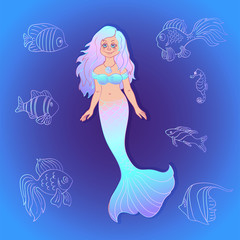 Vector pretty mermaid with sea fishes cartoon style.