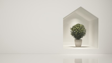 Tree Shop 3d rendering  white background - Triangle space  minimal japanese
