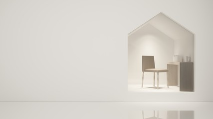 Furniture shop 3d rendering  white background - Triangle space