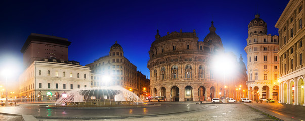 Image of night light of The Ferrari Square which is main city square in Genoa in Italy